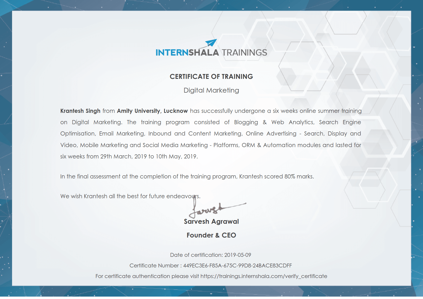 Digital Marketing Training - Certificate of Completion