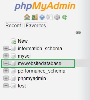 phpMyAdmin Dashboard