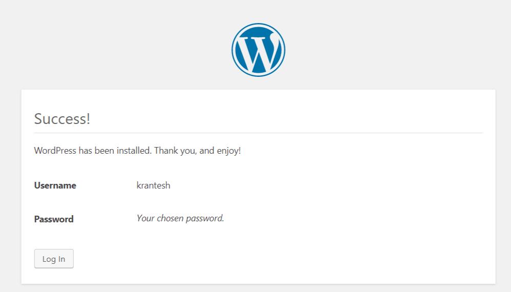 Successfully Installed WordPress