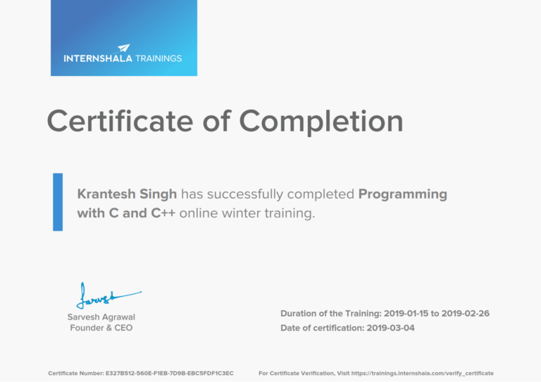 Programming with C and C++ Training - Certificate of Completion